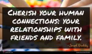 Joseph Brodsky quote : Cherish your human connections ...