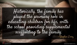 Stephen Covey quote : Historically the family has ...