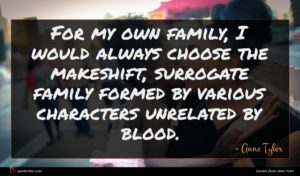 Anne Tyler quote : For my own family ...