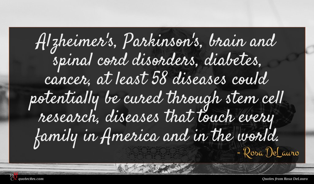 Alzheimer's, Parkinson's, brain and spinal cord disorders, diabetes, cancer, at least 58 diseases could potentially be cured through stem cell research, diseases that touch every family in America and in the world.