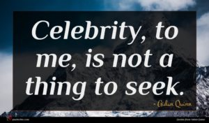 Aidan Quinn quote : Celebrity to me is ...