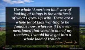 Harry Connick, Jr. quote : The whole 'American Idol' ...