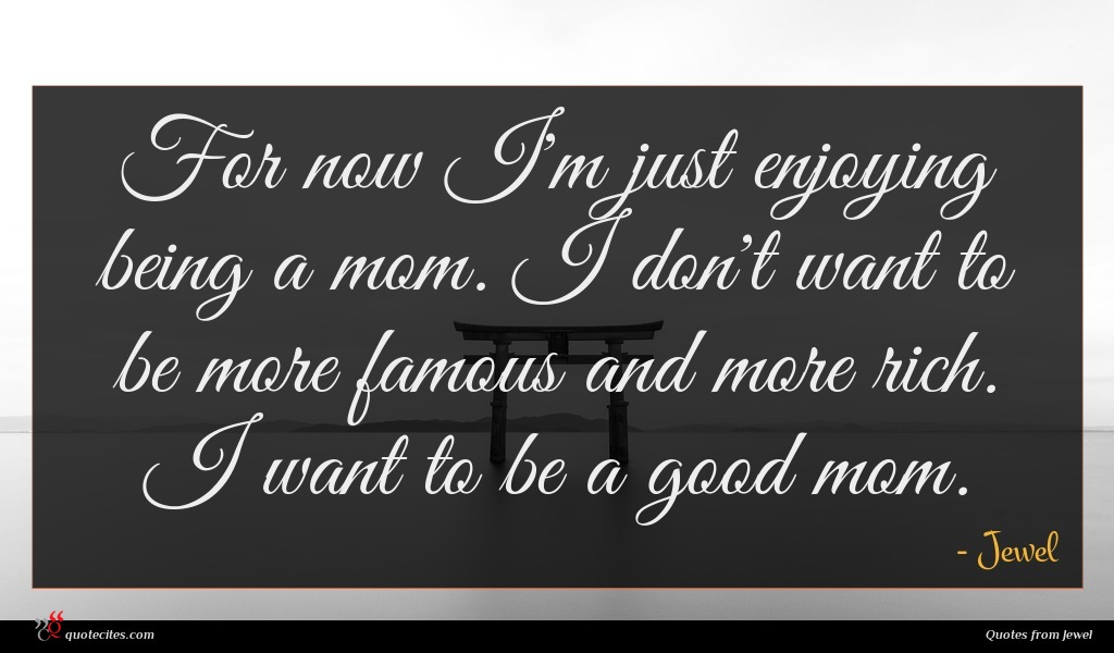 For now I'm just enjoying being a mom. I don't want to be more famous and more rich. I want to be a good mom.
