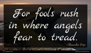Alexander Pope quote : For fools rush in ...