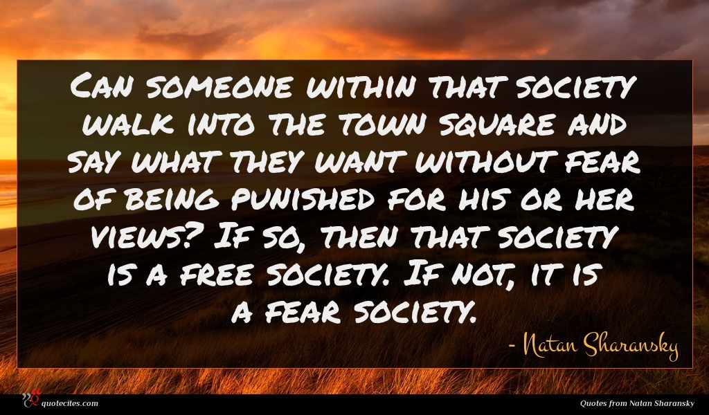 Can someone within that society walk into the town square and say what they want without fear of being punished for his or her views? If so, then that society is a free society. If not, it is a fear society.