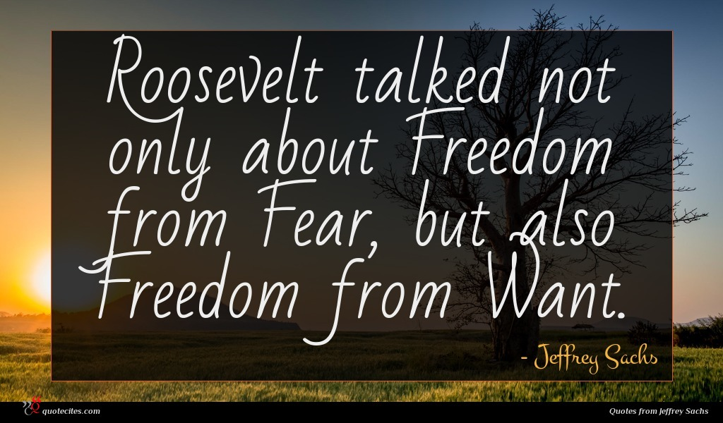 Roosevelt talked not only about Freedom from Fear, but also Freedom from Want.