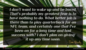 Tom Brady quote : I don't want to ...
