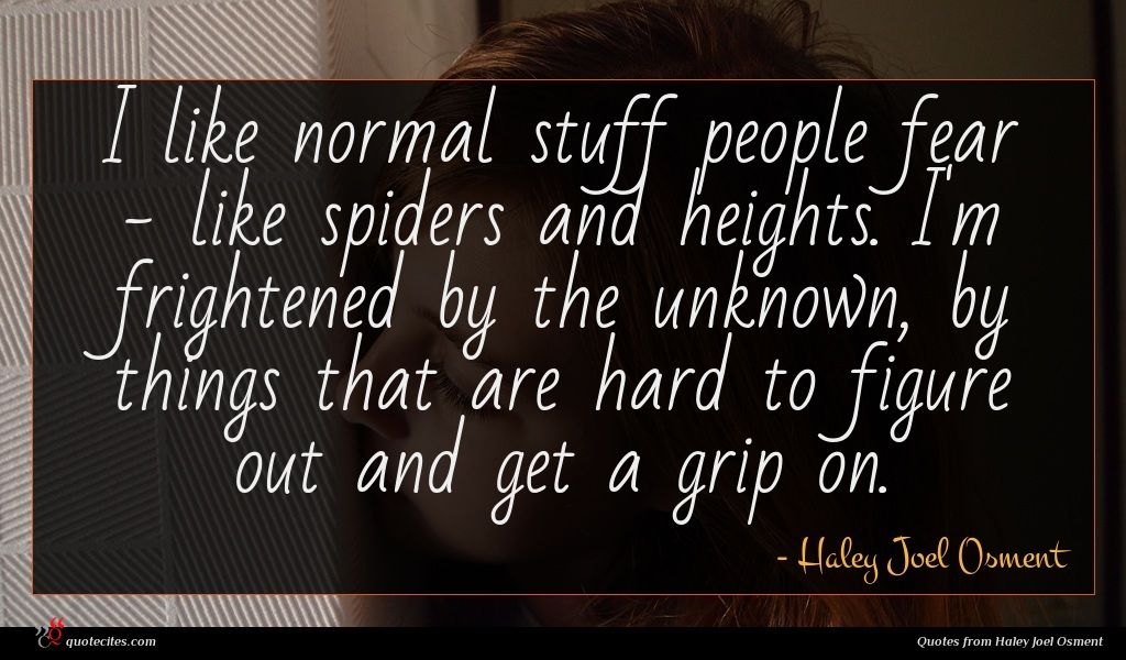 I like normal stuff people fear - like spiders and heights. I'm frightened by the unknown, by things that are hard to figure out and get a grip on.