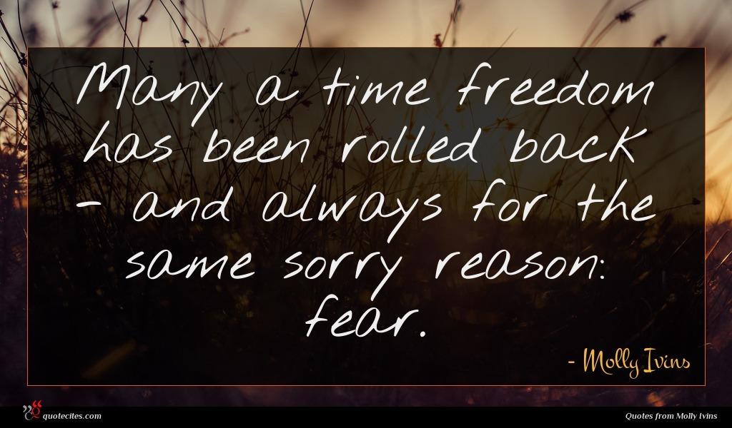 Many a time freedom has been rolled back - and always for the same sorry reason: fear.