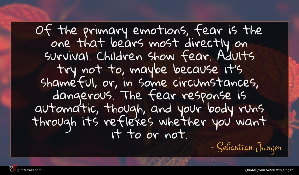 Of the primary emotions, fear is the one that bears most directly on survival. Children show fear. Adults try not to, maybe because it's shameful, or, in some circumstances, dangerous. The fear response is automatic, though, and your body runs through its reflexes whether you want it to or not.