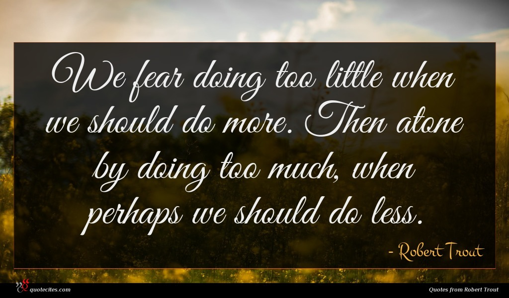 We fear doing too little when we should do more. Then atone by doing too much, when perhaps we should do less.