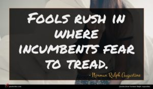 Norman Ralph Augustine quote : Fools rush in where ...