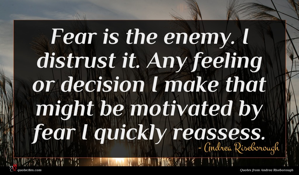 Fear is the enemy. I distrust it. Any feeling or decision I make that might be motivated by fear I quickly reassess.