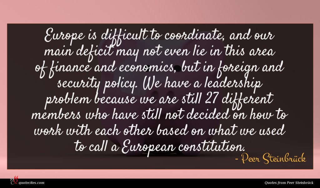 Europe is difficult to coordinate, and our main deficit may not even lie in this area of finance and economics, but in foreign and security policy. We have a leadership problem because we are still 27 different members who have still not decided on how to work with each other based on what we used to call a European constitution.
