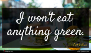 Kurt Cobain quote : I won't eat anything ...