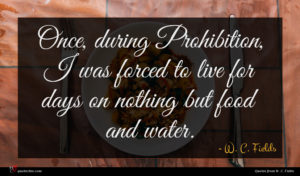 W. C. Fields quote : Once during Prohibition I ...