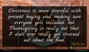 Sandra Lee quote : Christmas is more stressful ...
