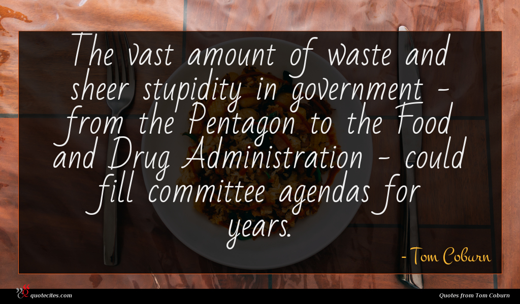 The vast amount of waste and sheer stupidity in government - from the Pentagon to the Food and Drug Administration - could fill committee agendas for years.