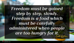 Lech Walesa quote : Freedom must be gained ...