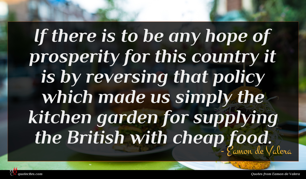 If there is to be any hope of prosperity for this country it is by reversing that policy which made us simply the kitchen garden for supplying the British with cheap food.