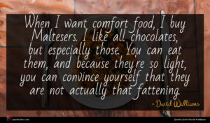 David Walliams quote : When I want comfort ...