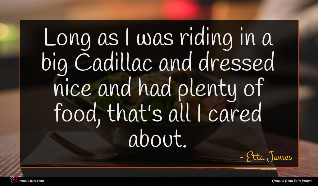 Long as I was riding in a big Cadillac and dressed nice and had plenty of food, that's all I cared about.
