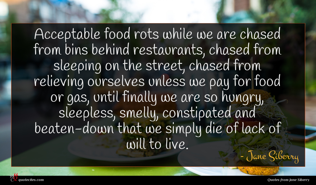Acceptable food rots while we are chased from bins behind restaurants, chased from sleeping on the street, chased from relieving ourselves unless we pay for food or gas, until finally we are so hungry, sleepless, smelly, constipated and beaten-down that we simply die of lack of will to live.