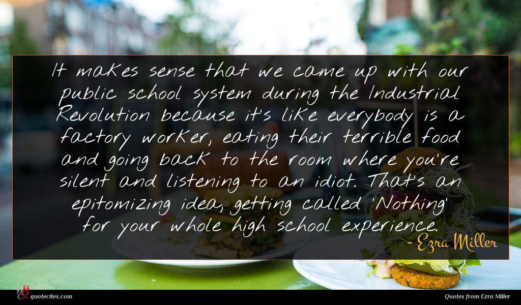 It makes sense that we came up with our public school system during the Industrial Revolution because it's like everybody is a factory worker, eating their terrible food and going back to the room where you're silent and listening to an idiot. That's an epitomizing idea, getting called 'Nothing' for your whole high school experience.
