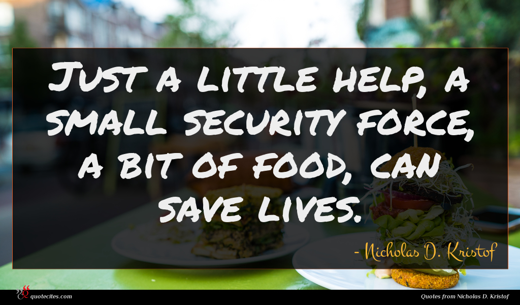 Just a little help, a small security force, a bit of food, can save lives.