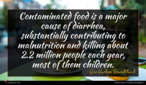 Gro Harlem Brundtland quote : Contaminated food is a ...