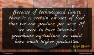 Ralph Merkle quote : Because of technological limits ...