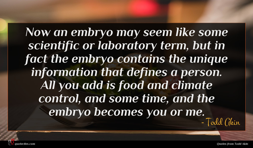 Now an embryo may seem like some scientific or laboratory term, but in fact the embryo contains the unique information that defines a person. All you add is food and climate control, and some time, and the embryo becomes you or me.