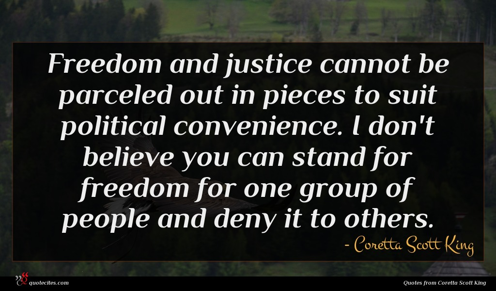 Freedom and justice cannot be parceled out in pieces to suit political convenience. I don't believe you can stand for freedom for one group of people and deny it to others.