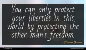 Clarence Darrow quote : You can only protect ...