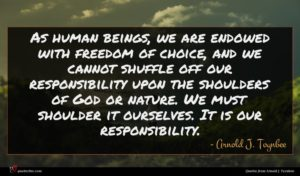 Arnold J. Toynbee quote : As human beings we ...