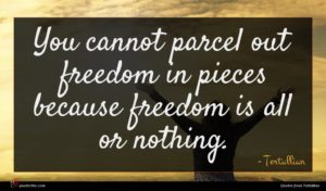 Tertullian quote : You cannot parcel out ...