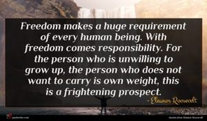 Eleanor Roosevelt quote : Freedom makes a huge ...