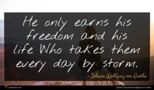 Johann Wolfgang von Goethe quote : He only earns his ...