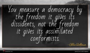 Abbie Hoffman quote : You measure a democracy ...
