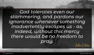 John Calvin quote : God tolerates even our ...