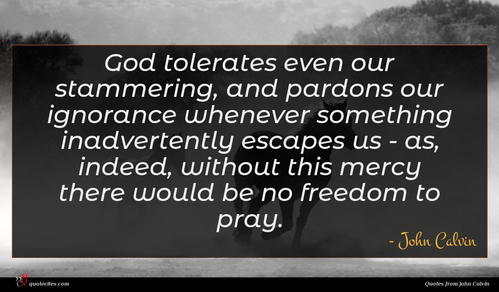 God tolerates even our stammering, and pardons our ignorance whenever something inadvertently escapes us - as, indeed, without this mercy there would be no freedom to pray.