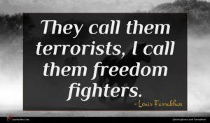 Louis Farrakhan quote : They call them terrorists ...