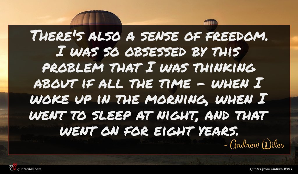 There's also a sense of freedom. I was so obsessed by this problem that I was thinking about if all the time - when I woke up in the morning, when I went to sleep at night, and that went on for eight years.