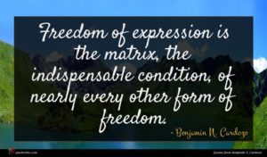 Benjamin N. Cardozo quote : Freedom of expression is ...