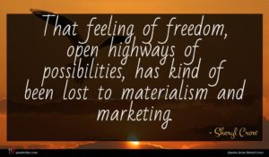 Sheryl Crow quote : That feeling of freedom ...