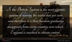 Henry Charles Carey quote : It the British System ...