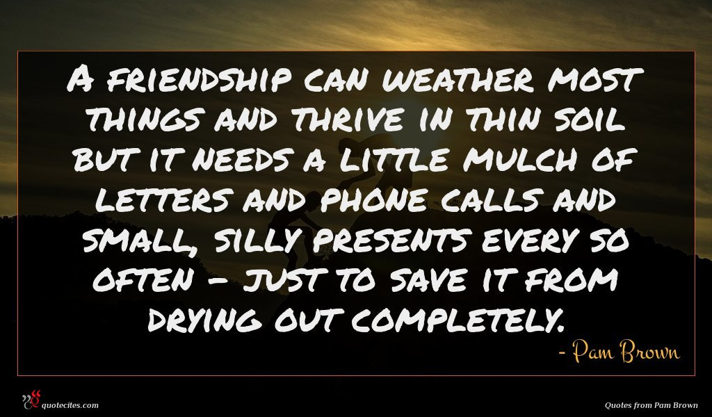 A friendship can weather most things and thrive in thin soil but it needs a little mulch of letters and phone calls and small, silly presents every so often - just to save it from drying out completely.
