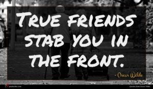 Oscar Wilde quote : True friends stab you ...