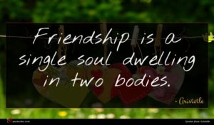 Aristotle quote : Friendship is a single ...