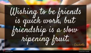 Aristotle quote : Wishing to be friends ...